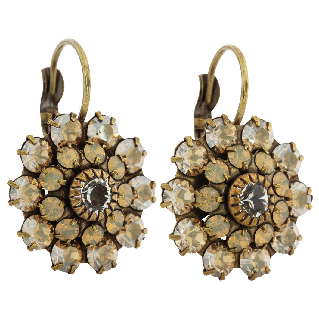 Liz Palacios Antiqued Brass Large Flower Swarovski Crystal Earrings, SE-69 Colorado
