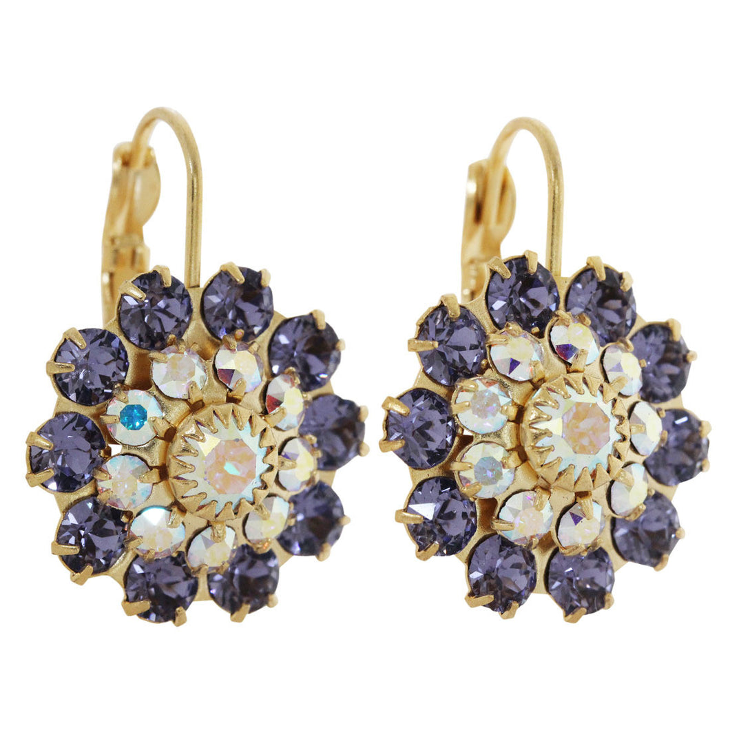 Liz Palacios 14k Gold Plated Large Flower Swarovski Crystal Earrings, JE-81 Purple AB