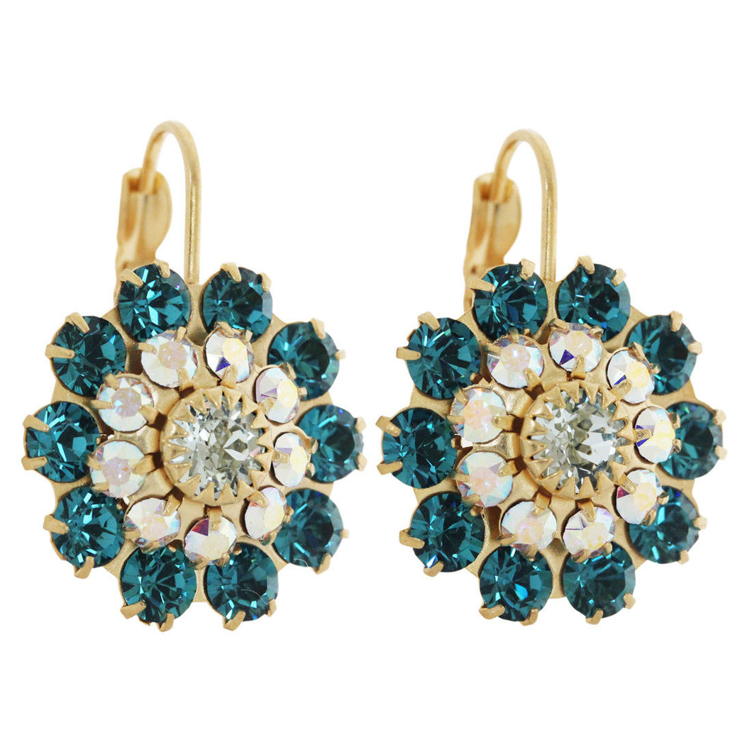 Liz Palacios 14k Gold Plated Large Flower Swarovski Crystal Earrings, JE-81 Deep Teal Blue AB