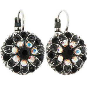 Mariana Tuxedo Silver Plated Flower Blossom Swarovski Crystal Earrings, Black Crystal AB 1029 3701