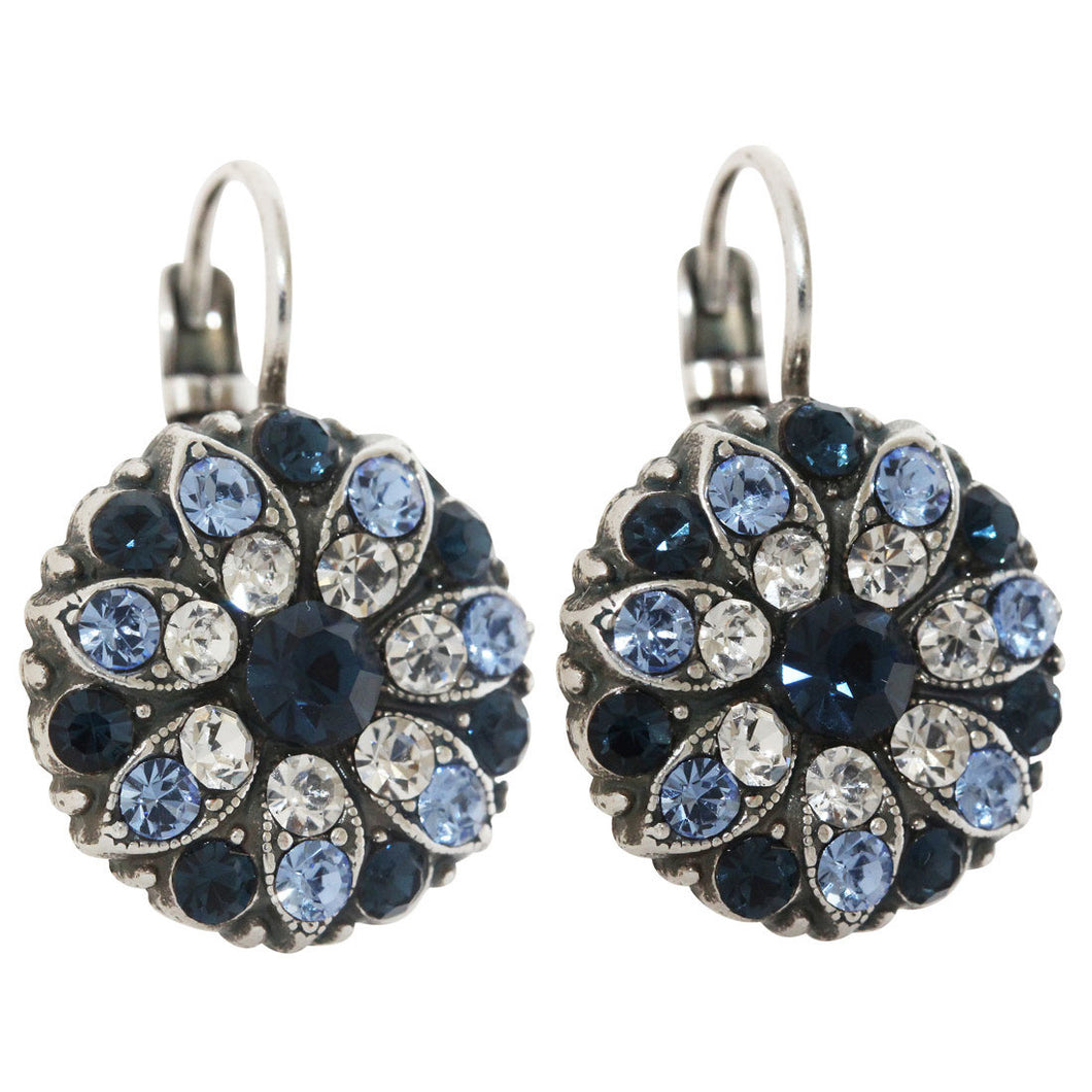 Mariana Silver Plated Flower Blossom Swarovski Crystal Earrings, Blue Clear 1029 21120