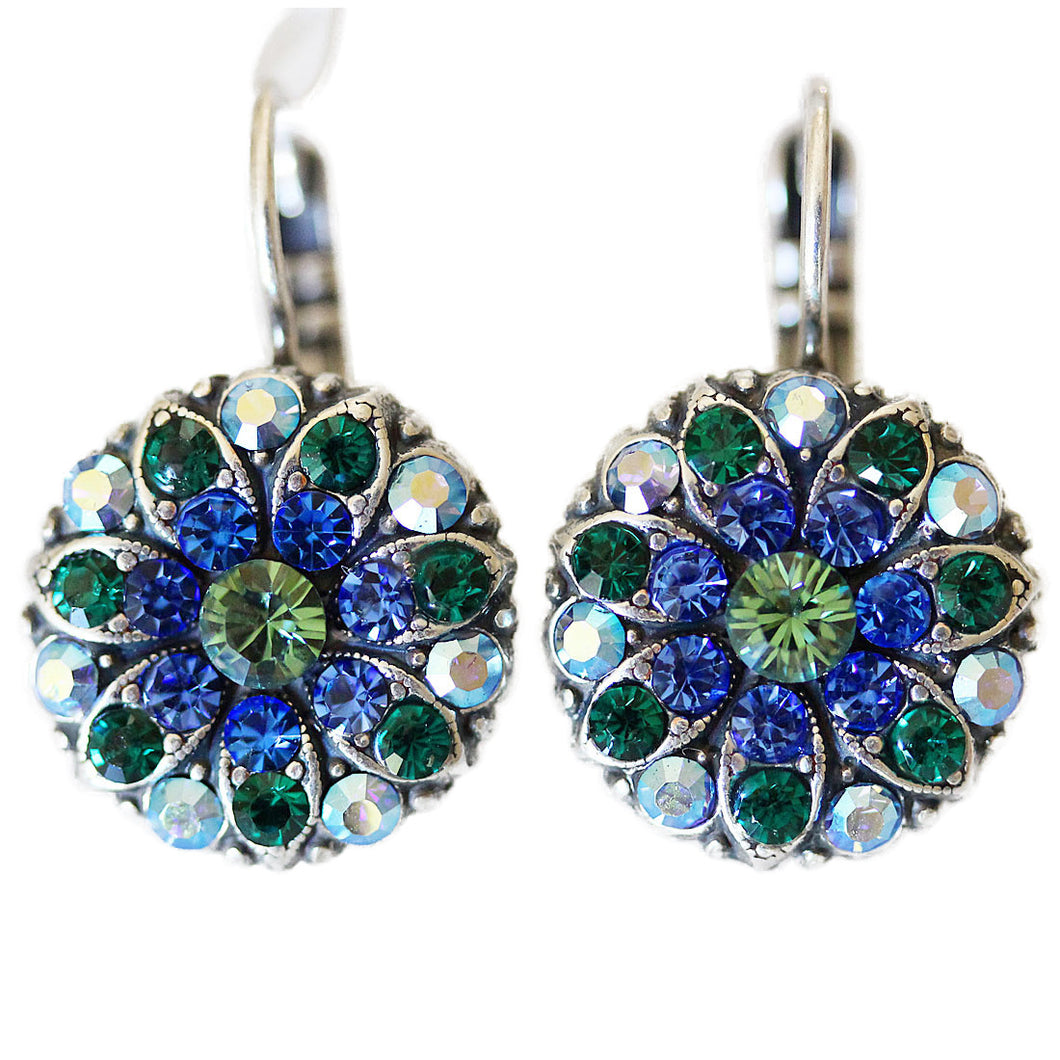 Mariana Silver Plated Flower Blossom Swarovski Crystal Earrings, Capri Blue 1029 17