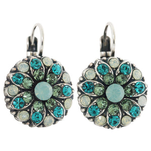 "Mariana ""Congo"" Silver Plated Flower Blossom Swarovski Crystal Earrings, 1029 1076"