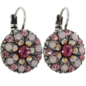 Mariana Silver Plated Flower Blossom Swarovski Crystal Earrings, Pink AB 1029 2230