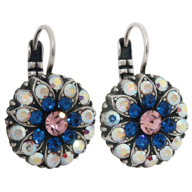 Mariana Kiss from a Rose Silver Plated Flower Blossom Swarovski Crystal Earrings, 1029 1068