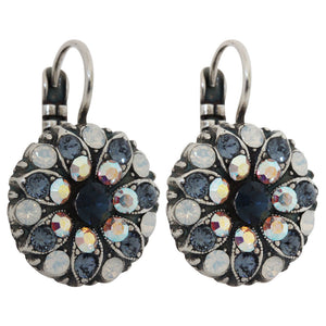 "Mariana ""Mood Indigo"" Silver Plated Flower Blossom Swarovski Crystal Earrings, 1029 1069"