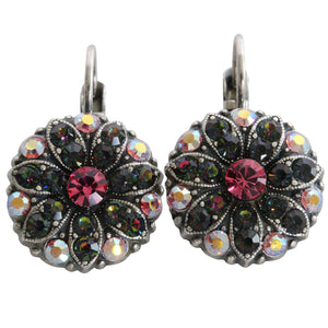 Mariana Silver Plated Flower Blossom Swarovski Crystal Earrings, Green Pink Vitrail 1029 29