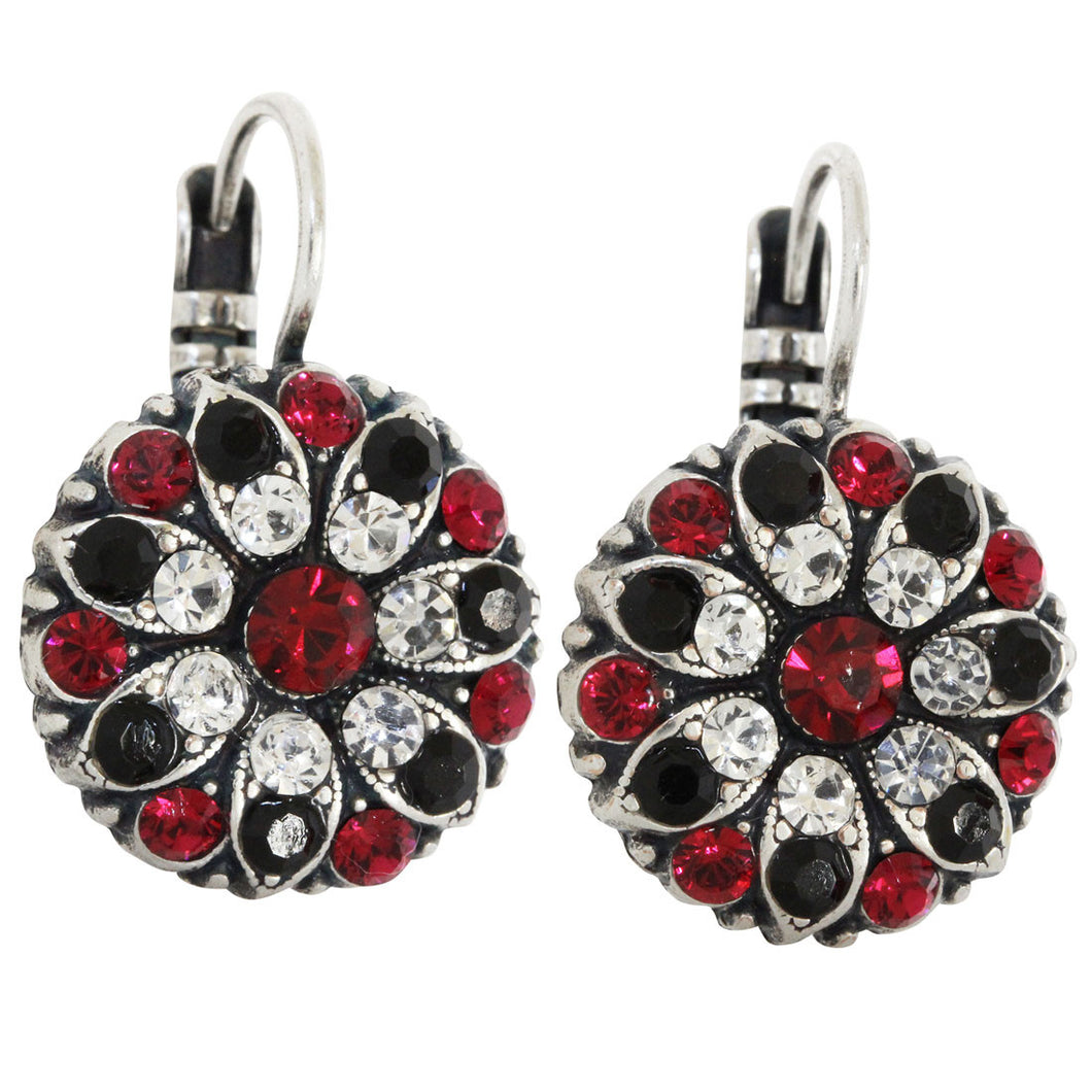 Mariana Silver Plated Flower Blossom Swarovski Crystal Earrings, Red Black Clear 1029 50120