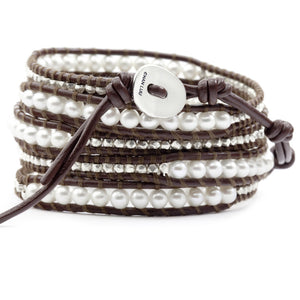 Chan Luu White Pearl and Sterling Silver Nuggets Brown Leather Wrap Bracelet BS-2350