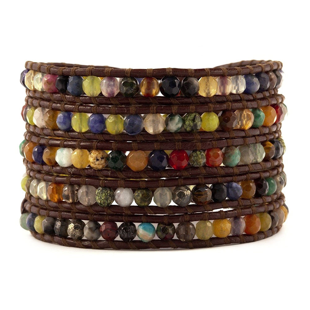 Chan Luu Multi Stone Mix on Brown Leather Wrap Bracelet BS-1289