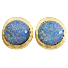Kenneth Jay Lane Goldtone Simulated Blue Opal Hammered Clip On Earrings 1524ESGBU