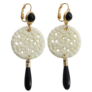 Kenneth Jay Lane Carved Statement Oriental Faux White Ivory Black Drop Pierced Earrings 7849EBIBP