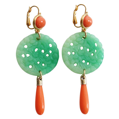 Kenneth Jay Lane Carved Statement Oriental Faux Green Jade Coral Drop Pierced Earrings 7849ECJCP