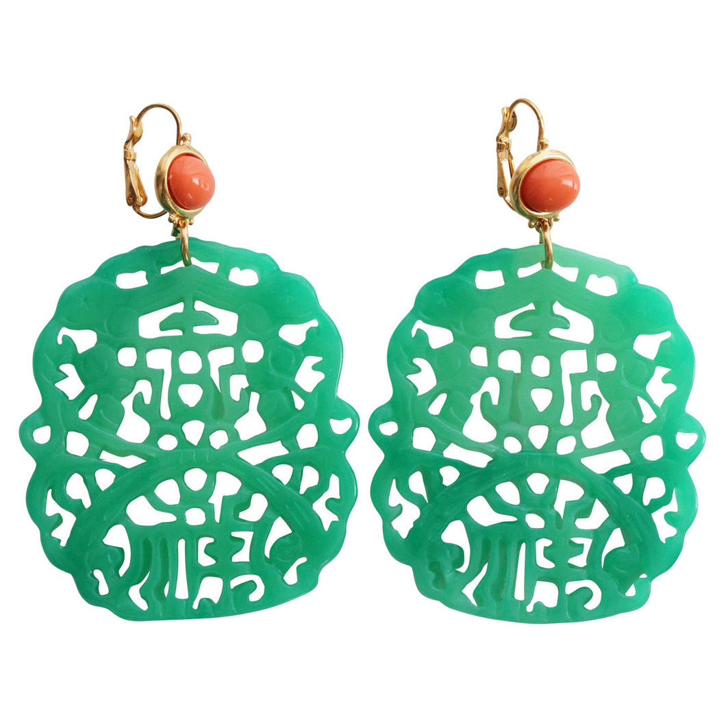 Kenneth Jay Lane Carved Statement Oriental Faux Jade Coral Resin Pierced Earrings 7834ELCJ