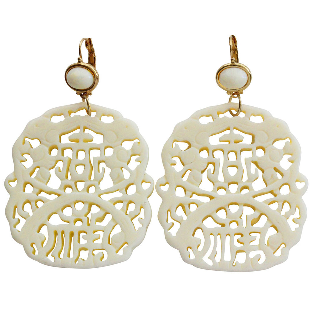 Kenneth Jay Lane Carved Statement Oriental Faux White Ivory Pierced Earrings 7834EII