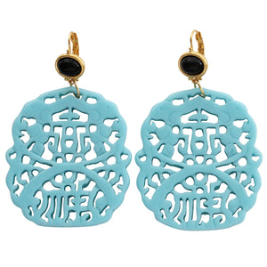 Kenneth Jay Lane Carved Statement Oriental Faux Turquoise Black Pierced Earrings 7834EBT