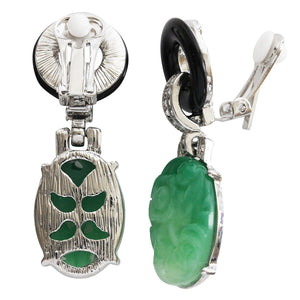 Kenneth Jay Lane Art Deco Simulated Carved Jade with Black Ring Hoop Clear Crystal Drop Dangle Clip On Earrings 7608EBJ