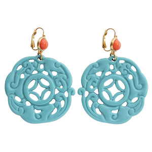 Kenneth Jay Lane Carved Round Oriental Faux Turquoise Coral Resin Pierced Earrings 8860ELCT