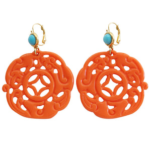 Kenneth Jay Lane Carved Round Oriental Faux Coral Turquoise Resin Pierced Earrings 8860ETLC