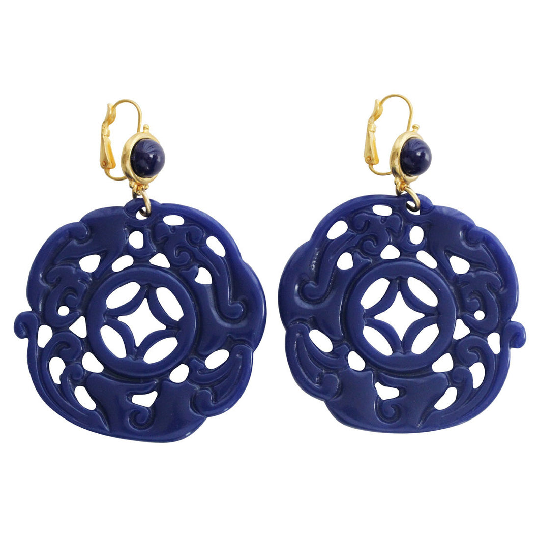 Kenneth Jay Lane Carved Round Oriental Faux Blue Lapis Resin Pierced Earrings 8860ELL