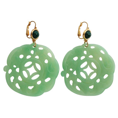 Kenneth Jay Lane Carved Round Oriental Faux Jade Green Resin Pierced Earrings 8860EJJ