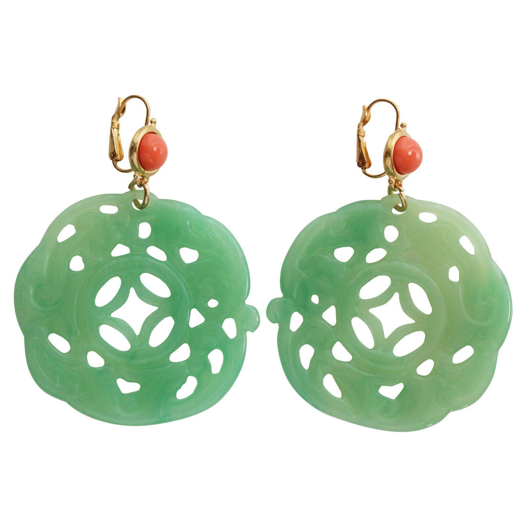 Kenneth Jay Lane Carved Round Oriental Faux Jade Coral Resin Pierced Earrings 8860ELCJ