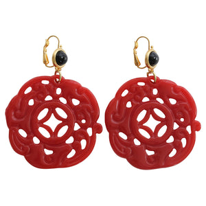Kenneth Jay Lane Carved Round Oriental Faux Red Coral Black Resin Pierced Earrings 8860EBDC