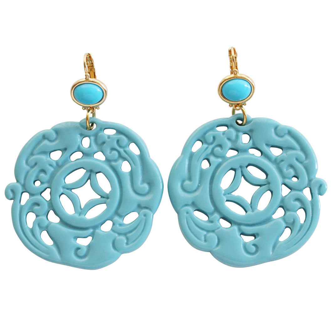 Kenneth Jay Lane Carved Round Oriental Faux Turquoise Resin Pierced Earrings 8860ETT