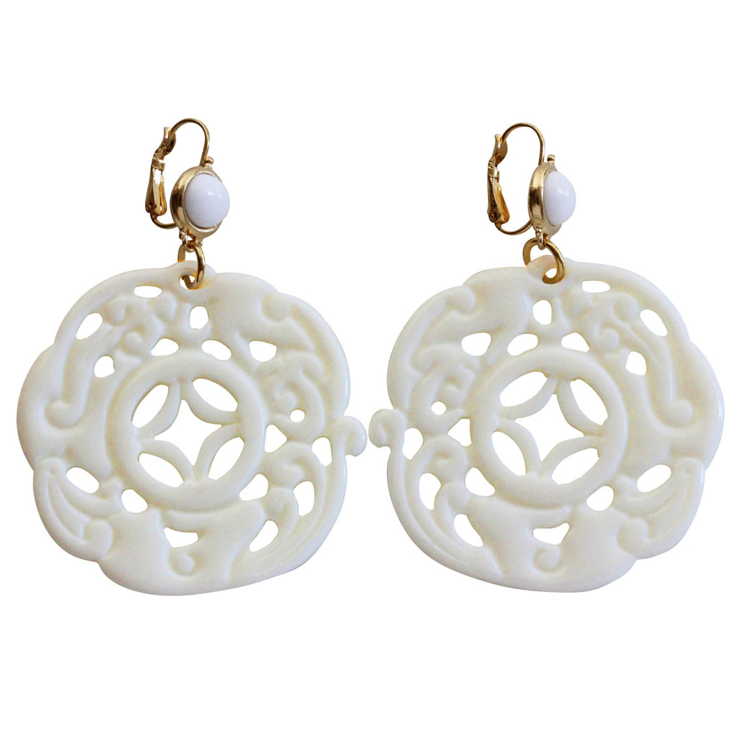 Kenneth Jay Lane Carved Round Oriental Faux White Ivory Cream Resin Pierced Earrings 8860EWW