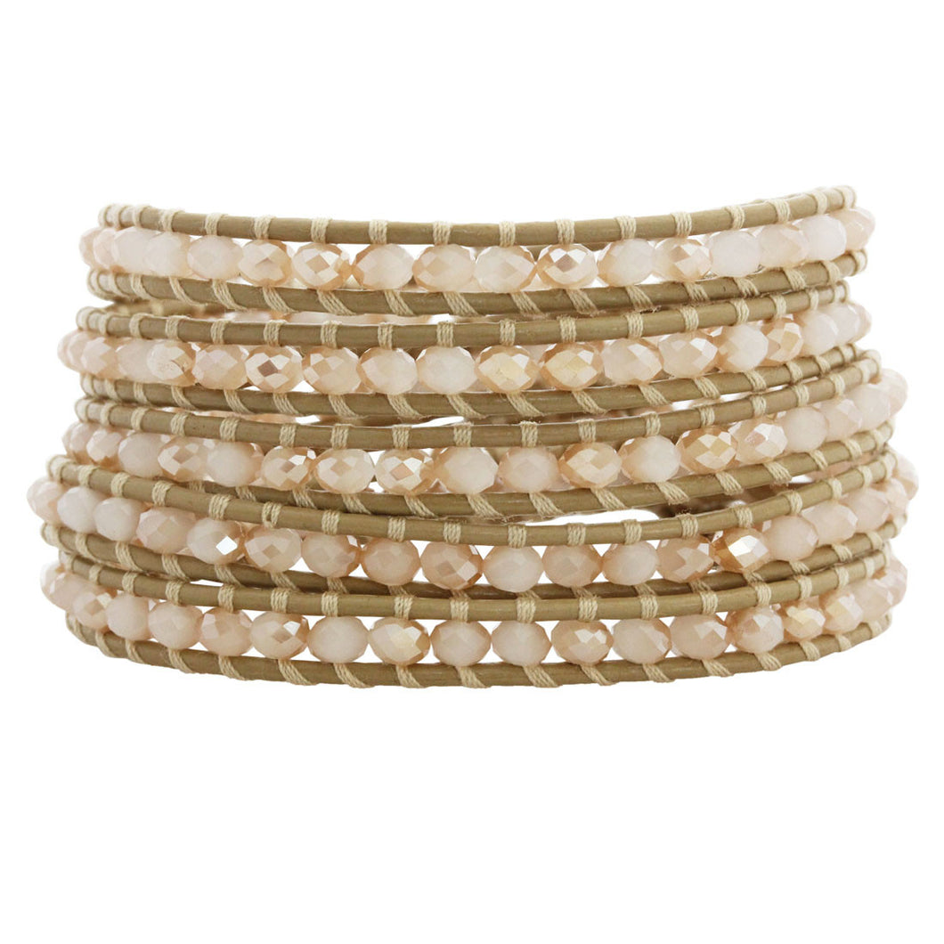 Chan Luu Crystal Champagne Petal Leather Wrap Bracelet BS-3469