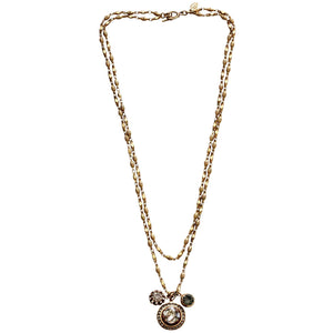 "Catherine Popesco 14k Gold Plated Crystal 3 Charm Double Strand Layered Necklace, 21"" 1361G Shade"