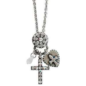 "Mariana Silver Plated Charm Blossom Cross Heart Pendant Swarovski Crystal Necklace, 25"" On A Clear Day 52021/3 0011AB"