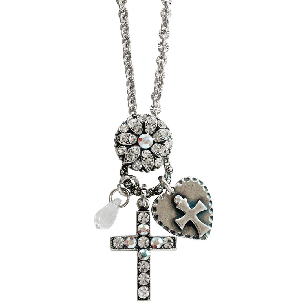 Mariana Silver Plated Charm Blossom Cross Heart Pendant Swarovski Crystal Necklace, 25