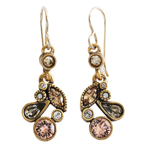Patricia Locke Cherish Gold Plated Swarovski Mosaic Art Earrings, Champagne EF0804G