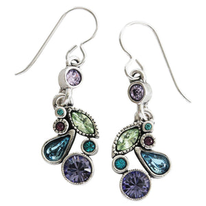 Patricia Locke Cherish Sterling Silver Plated Swarovski Multi Color Earrings, Waterlily EF0804S