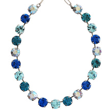 Mariana Blue Lagoon Silver Plated Classic Large Shapes Swarovski Crystal 11mm Necklace, 3474 1205