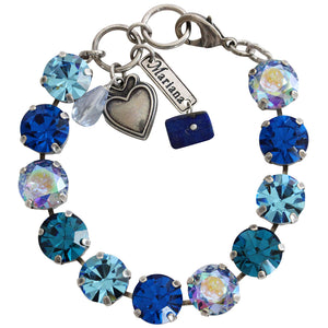 "Mariana Silver Plated Classic Large Shapes Swarovski Crystal Bracelet, 7.5"" Blue Lagoon 4474 1205"