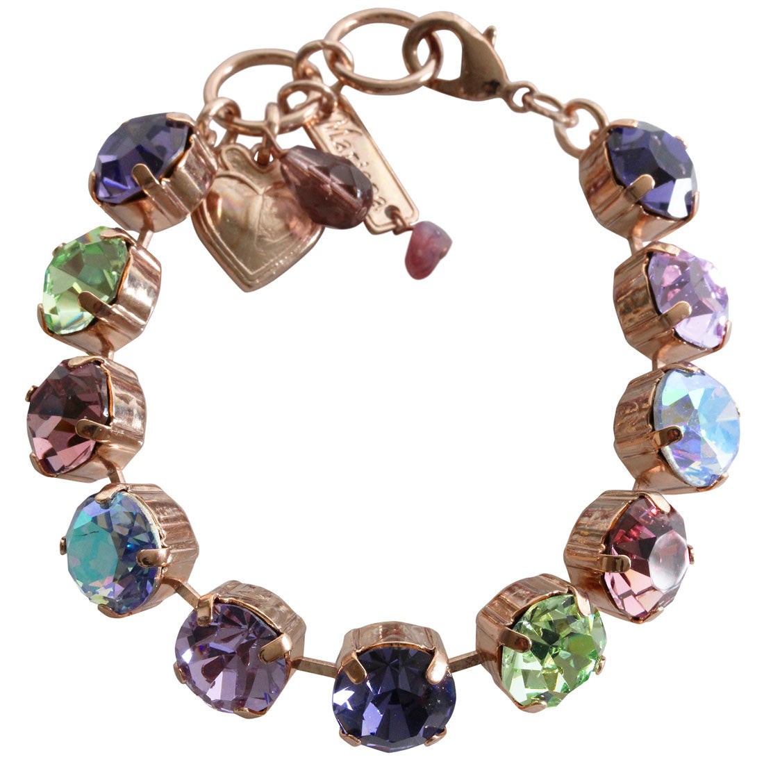 "Mariana Rose Gold Plated Classic Large Shapes Swarovski Crystal 7.5"" Bracelet, Iris 4474 1327rg"