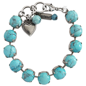 "Mariana Silver Plated Classic Large Shapes Swarovski Crystal Bracelet, 7"" Turquoise 4474 M75M75"