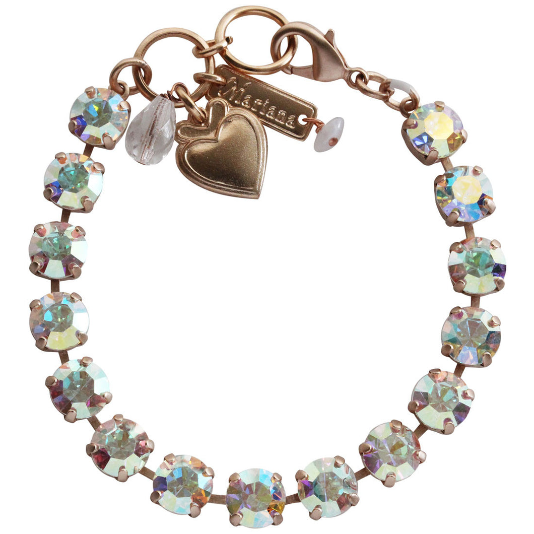 Mariana Rose Gold Plated Classic Shapes Swarovski Crystal Bracelet, 7