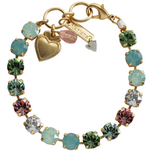 "Mariana Gold Plated Classic Shapes Swarovski Crystal Bracelet, 7"" Eternity 4252 1028yg"