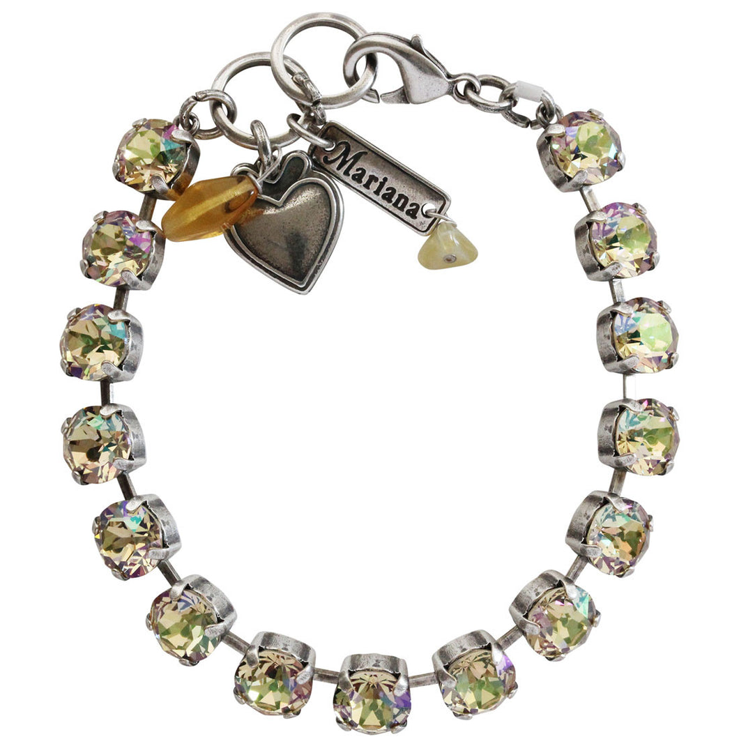 Mariana Silver Plated Classic Shapes Swarovski Crystal Bracelet, 7.5