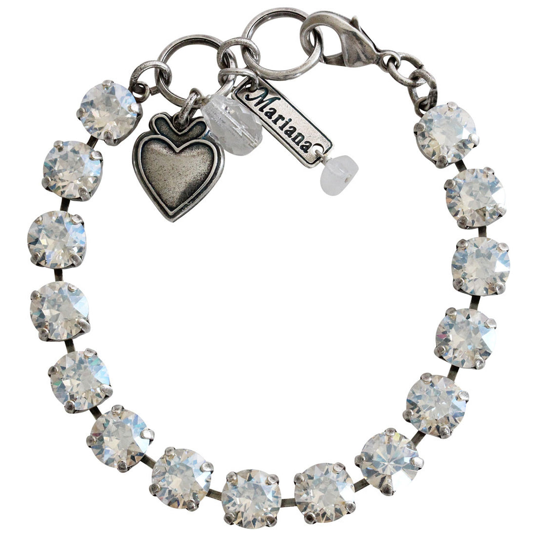 Mariana Silver Plated Classic Shapes Swarovski Crystal Bracelet, 7