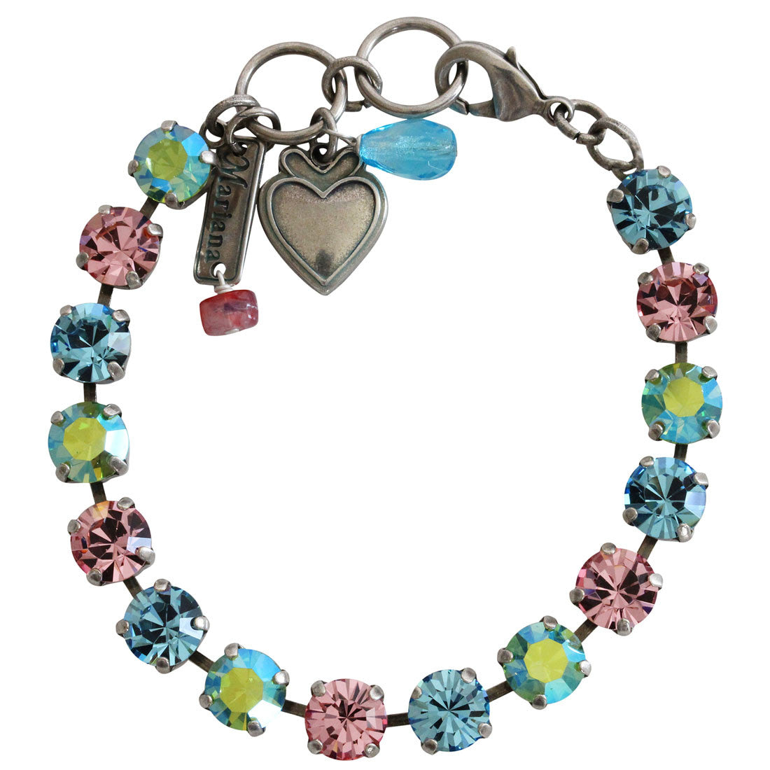 "Mariana Silver Plated Classic Shapes Swarovski Crystal Bracelet, 7"" Summer Fun 4252 3711"