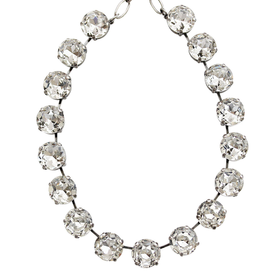Mariana Silver Plated Statement Classic Shapes Swarovski Crystal Necklace, 18.5