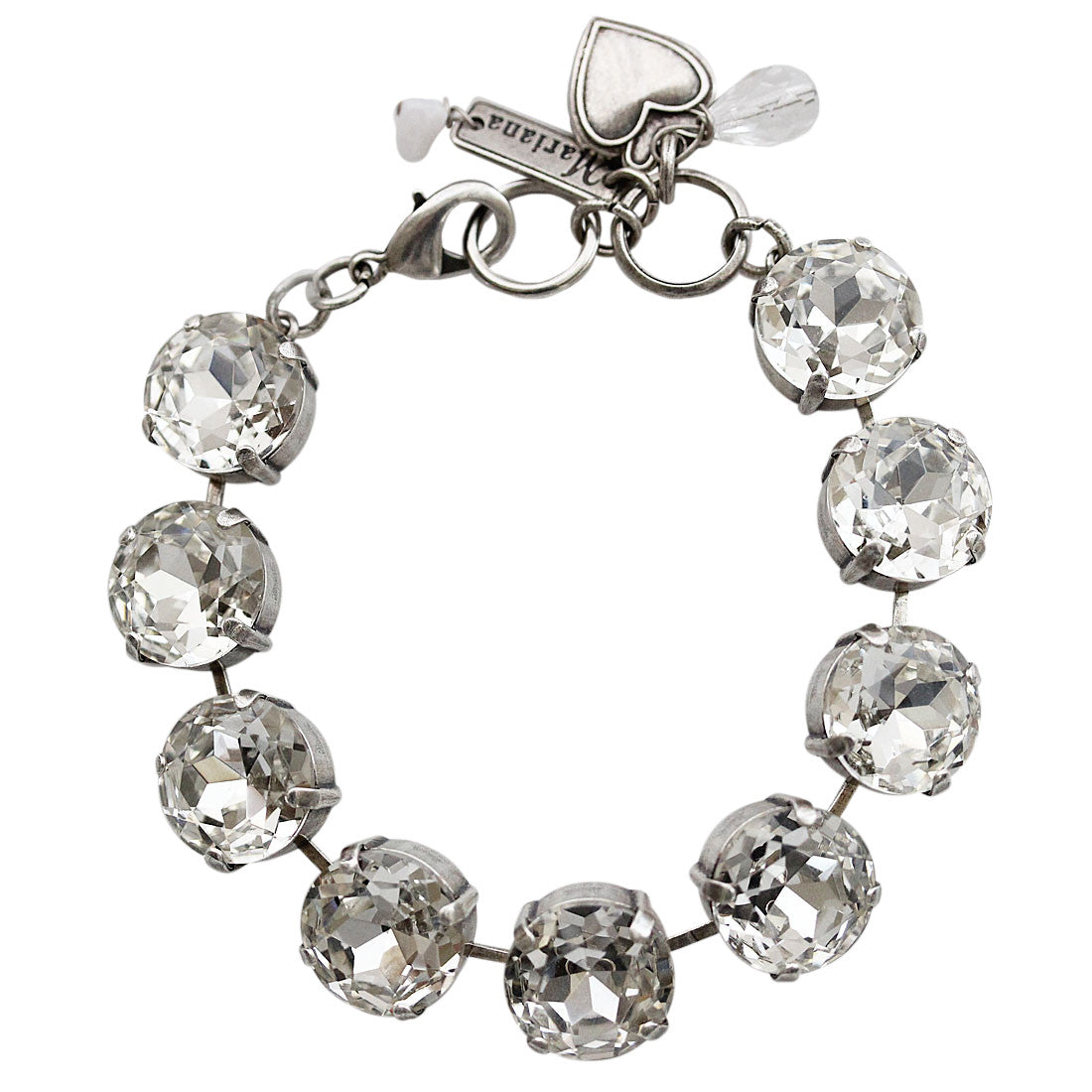 "Mariana Silver Plated Statement Classic Large Shapes Swarovski Crystal Bracelet, 7"" On A Clear Day 4438 001001"