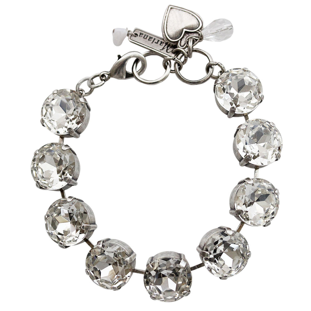 Mariana Silver Plated Statement Classic Large Shapes Swarovski Crystal Bracelet, 7