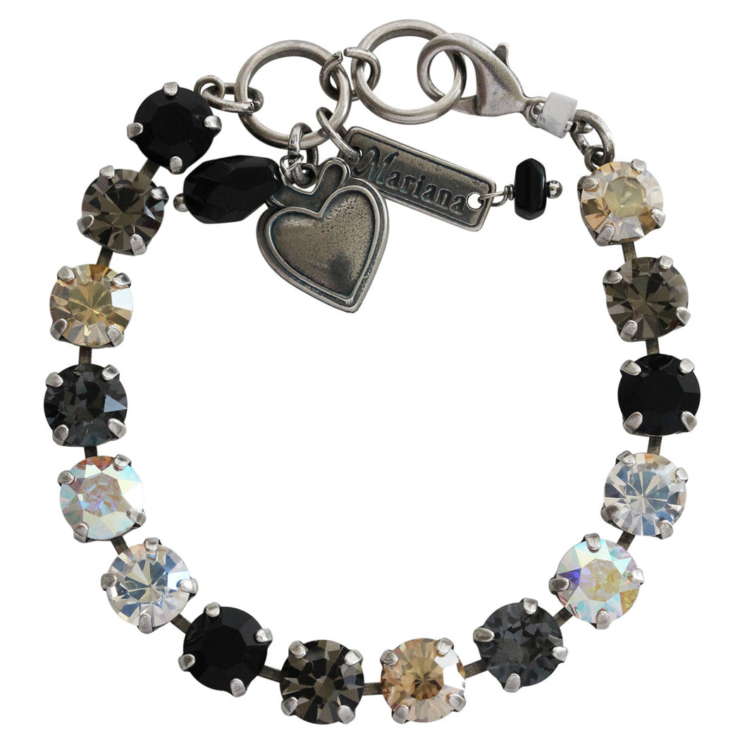 Mariana Adeline Silver Plated Classic Shapes Swarovski Crystal Bracelet, 7