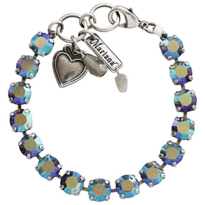 "Mariana Silver Plated Classic Shapes Swarovski Crystal Bracelet, 7"" Iridescent Multi 4252 215AB"
