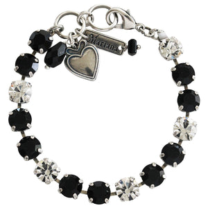 Mariana Checkmate Silver Plated Classic Black Clear Swarovski Crystal Tennis Bracelet, 4252 280-1